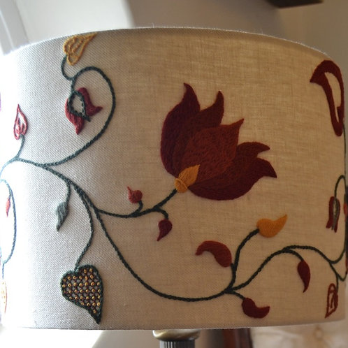 Embroidered Lampshade: Crewelwork 'Tendrils' Autumn