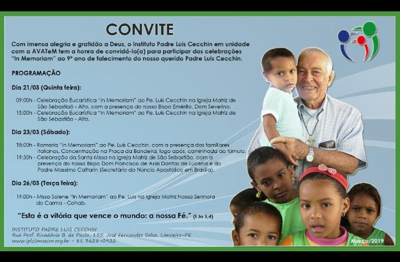 Convite 9 ano de falecimento do Pe. Luis