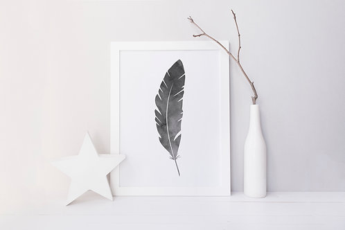 Grey Watercolour Feather Print