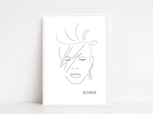 Iconic David Bowie Line Drawing Print | Digital Download