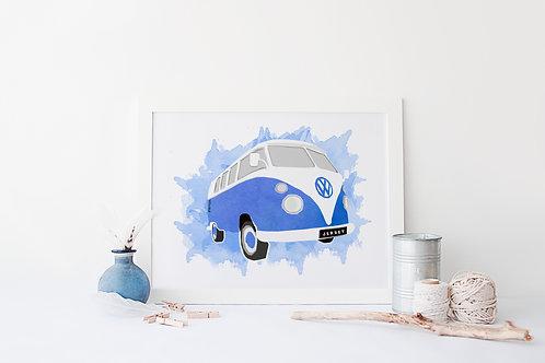Watercolour Jersey Camper Van Print
