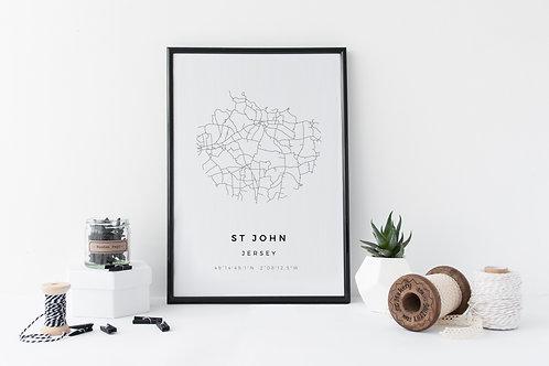 St John Minimal Parish Map