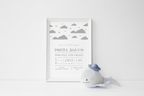 Personalised Baby Print Grey