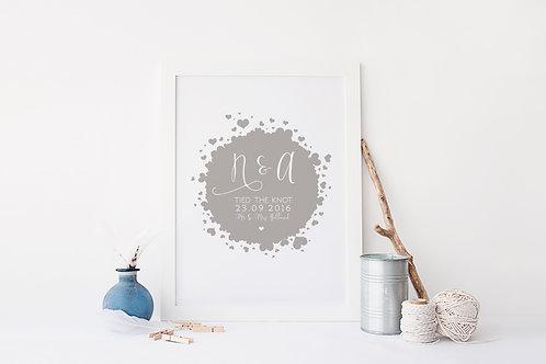 Personalised Wedding Hearts Print