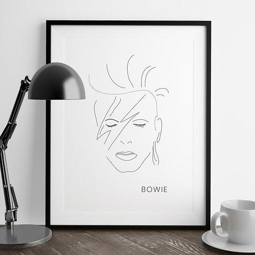 Minimal Line Drawing David Bowie Art Print