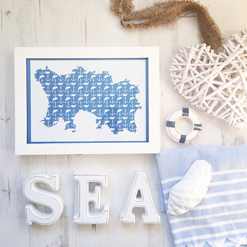 Jersey Nautical Map Print