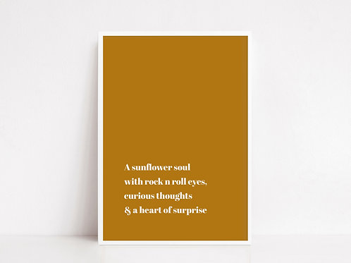 Sunflower Soul Quote Print