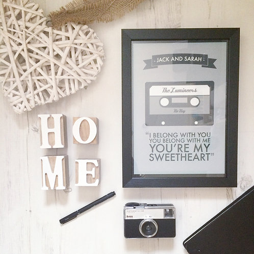 Personalised Song Tape Print