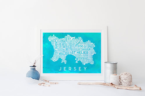 Watercolour Edition Jersey Map