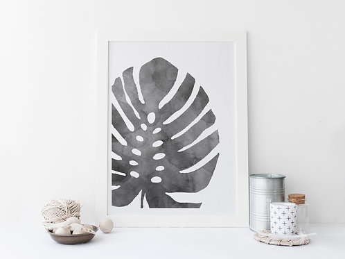Grey Watercolour Leaf Print