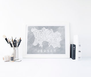 Grey Watercolour Edition Jersey Map