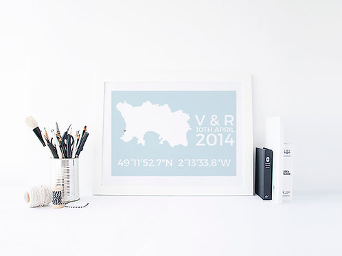 Personalised Map Co-Ordinates Print