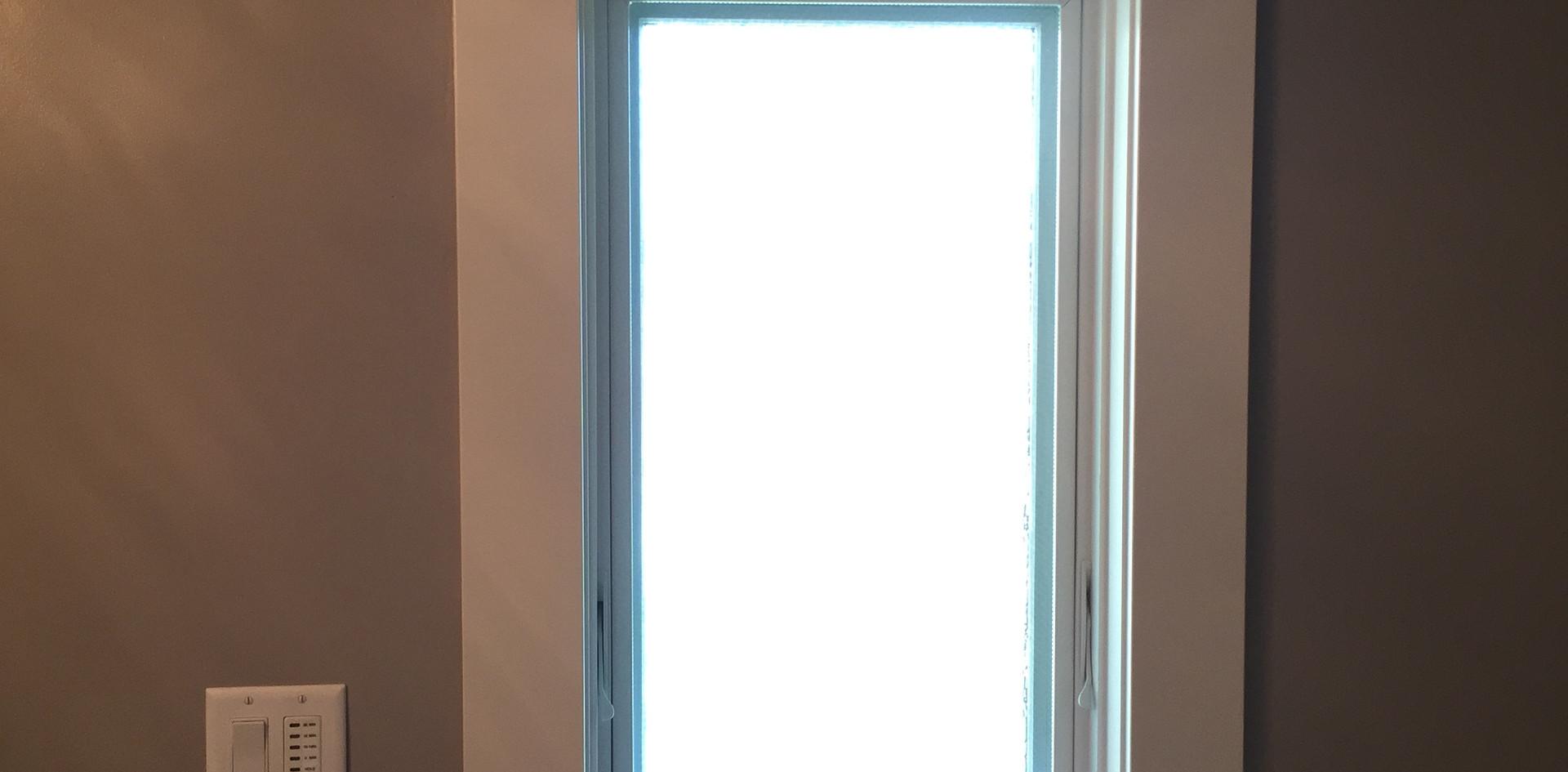 Bathroom window trim with crown, dust ledge, sill & apron