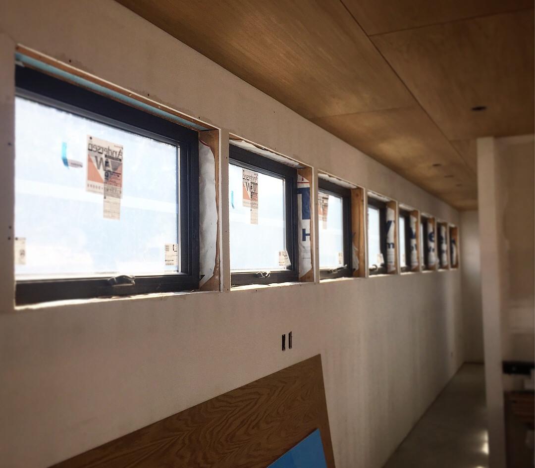 linear window trim before install