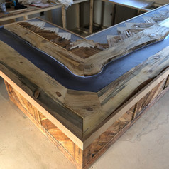 reclaimed lumber bar top
