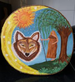 Prachtig schilderij van cursiste van cursus Sterrenbeeld schilderen op hout