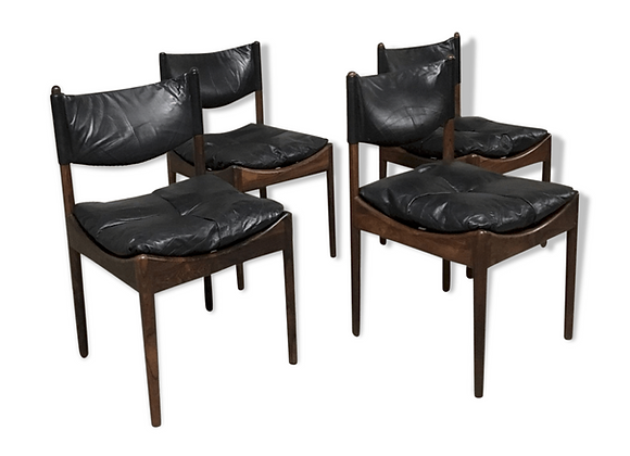 Kristian Vedel Rio Palisander & Black Leather Chairs, Set of 4