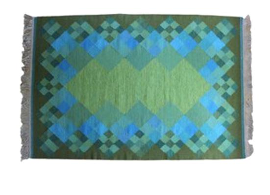 Swedish Rölakan Flat Wave Carpet, green