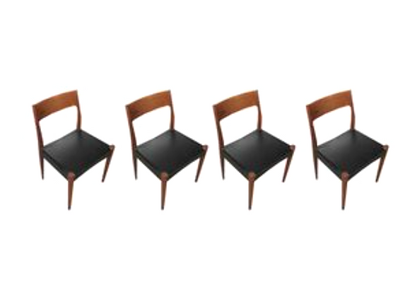 Arne Hovmand Olsen Teak Dining Chairs for Mogens Kold, Set of 4