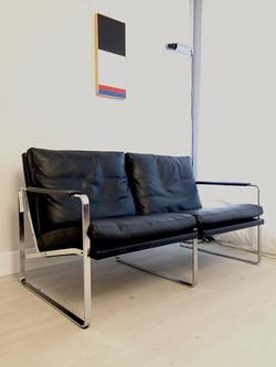 Chrome & Leather Sofa