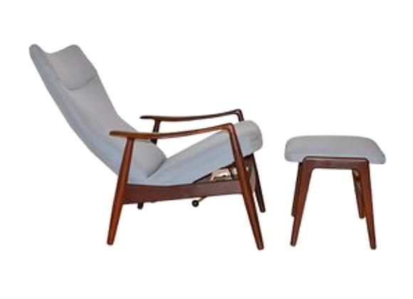 Alf Svensson Teak Reclining Lounge Chair & Ottoman for Fritz Hansen