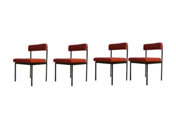 Dieter Wäckerlin Red Metal  Dining Chairs for Idealheim, Set of 4