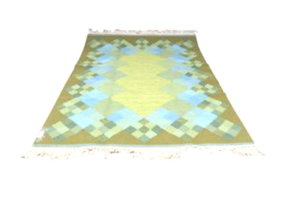 Rölakan Rug with Geometric Pattern in Green & Blue