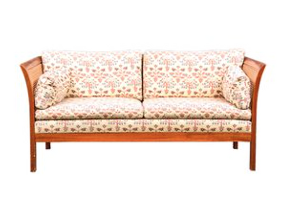 Teak Rotang two-Seater Sofa by Arne Norell