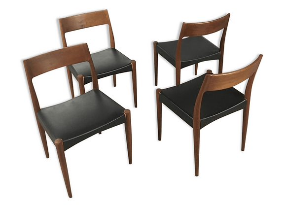 Arne Hovmand Olsen Teak Model 175 Dining Chairs for Mogens Kold, Set of 4