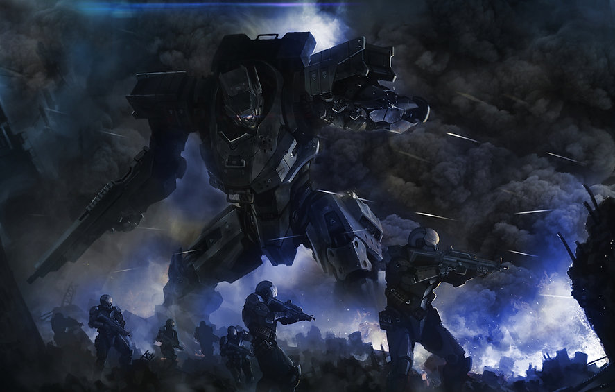 機器人和士兵