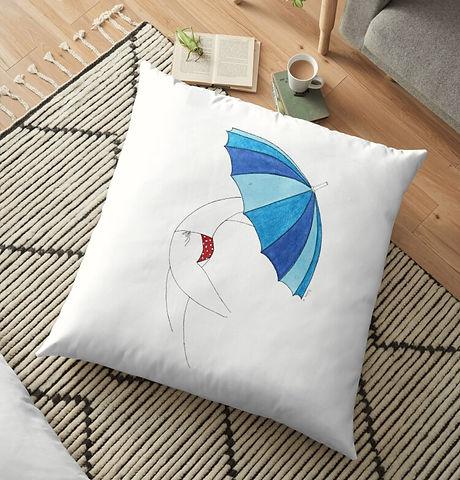 Natasha Kolton Umbrella Woman Home Decor Pillow