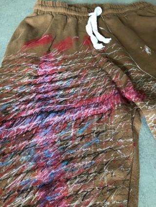 Painted Zara brown sweatpants by MAXIM -  1 original