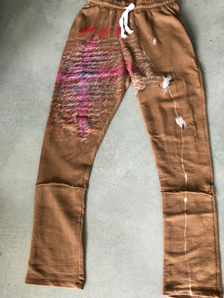 Painted Zara brown sweatpants by MAXIM -  1 original
