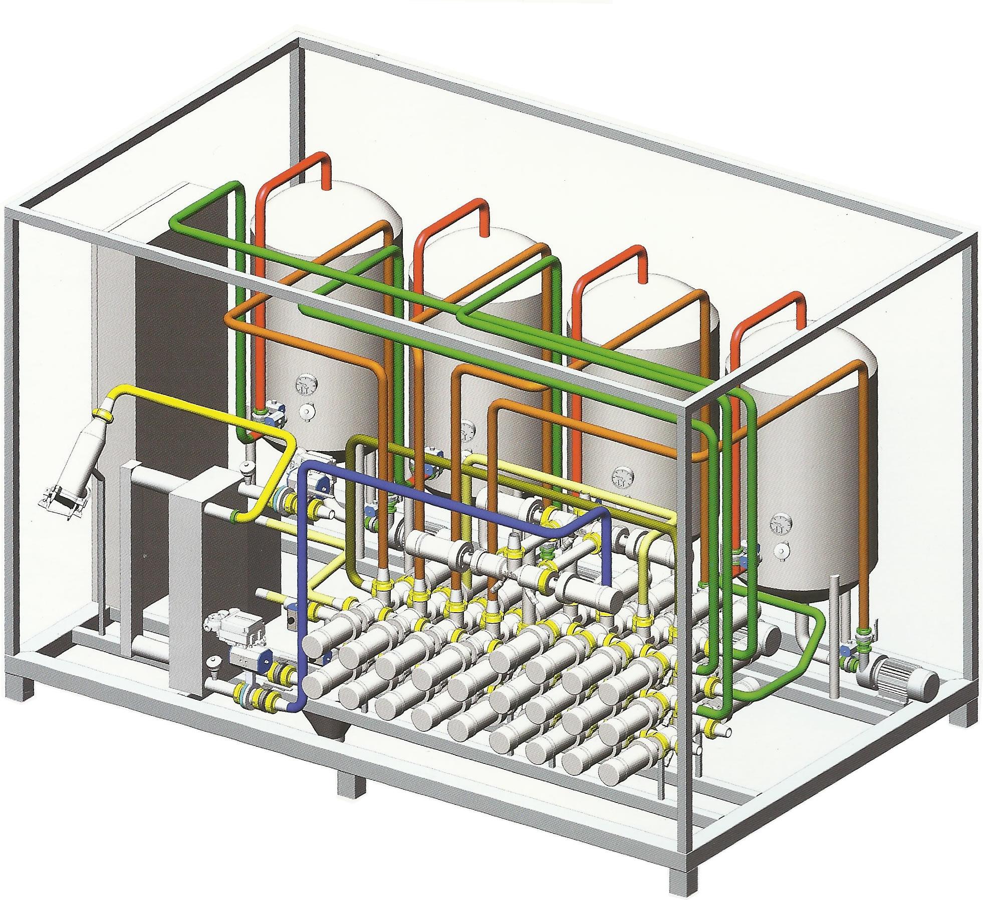 Skid para processo de produtos Liquidos