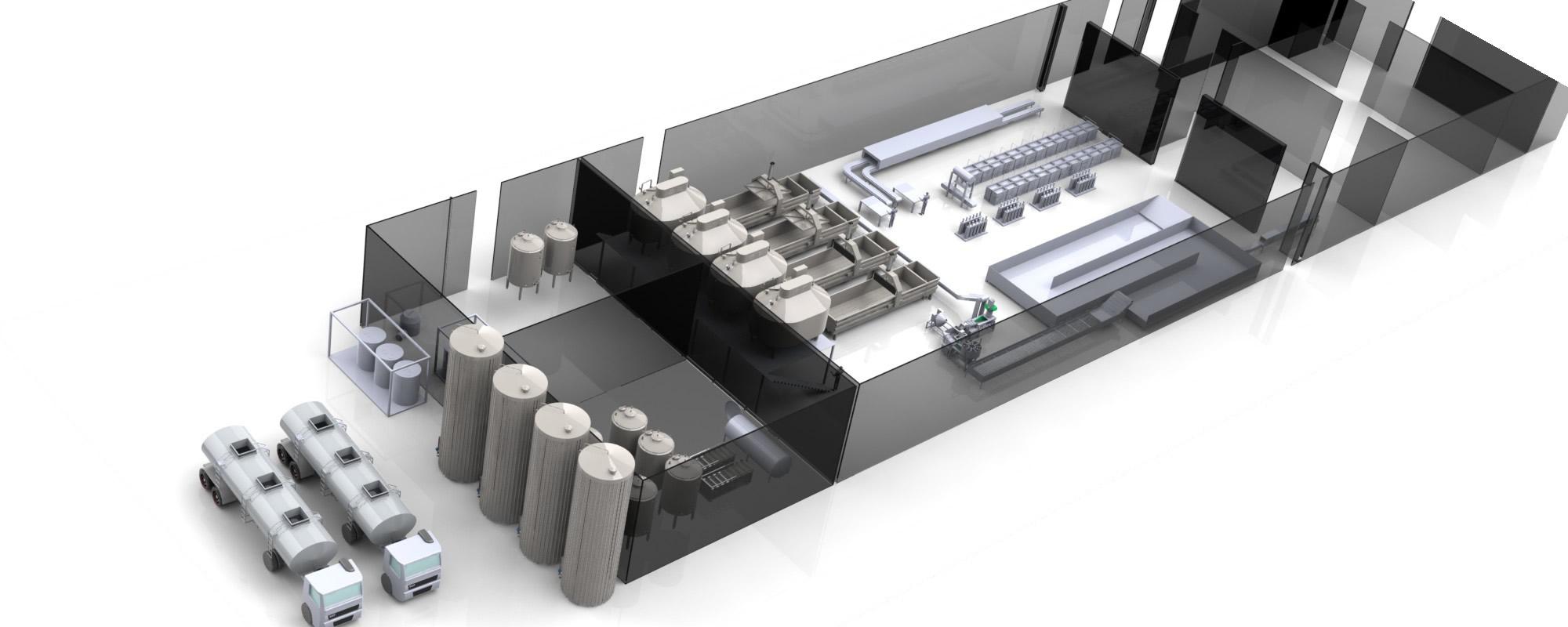Planta baixa de fábricas em 3D