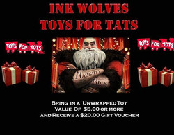 Ink Wolves is all about the kids so we are doing Toys for Tats