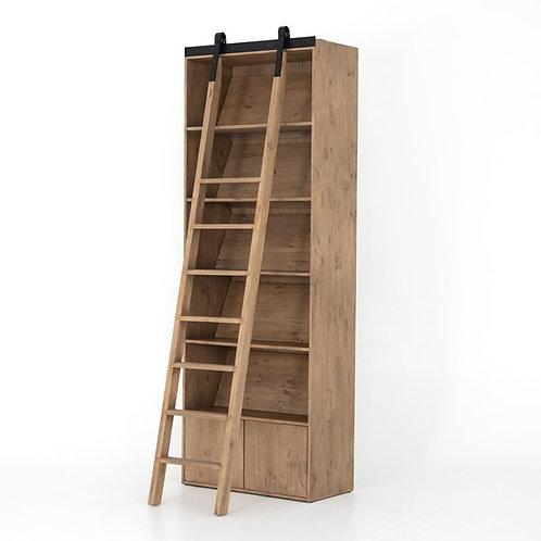Bane Bookshelf & Ladder-Smoked Pine