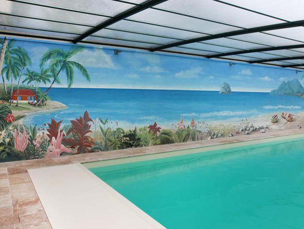 Fresque piscine Résidence privée Ludes