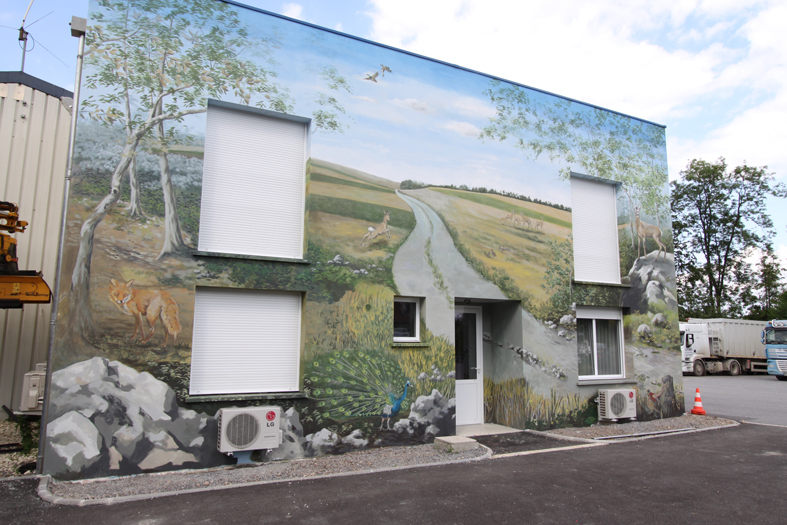 Fresques décors muraux trompe l'oeil façade 80 m²