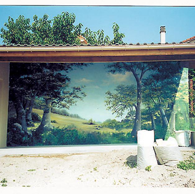 Fresque exterieure préau résidence privée