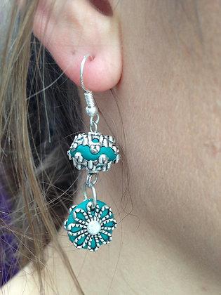 Boucles oreilles pendantes verte