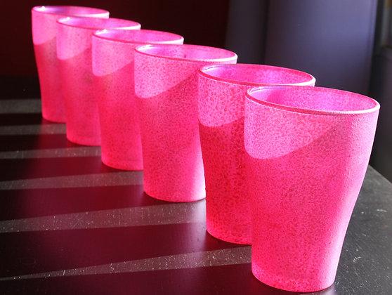 6 verres empilables fushias