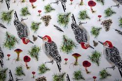 woodpecker, pine sprig & mushroom