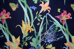 daylilies & spiderwebs on black