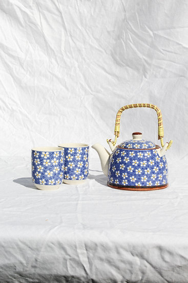 Teapot set - Blue Daisy