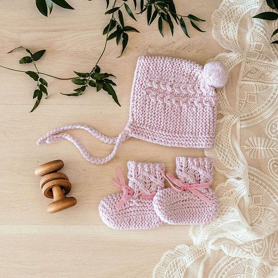 Pink Merino Wool Bonnet & Booties