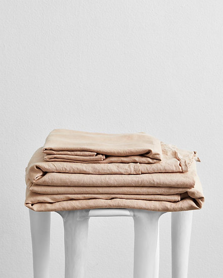 Terracotta 100% Flax Linen Sheet Set
