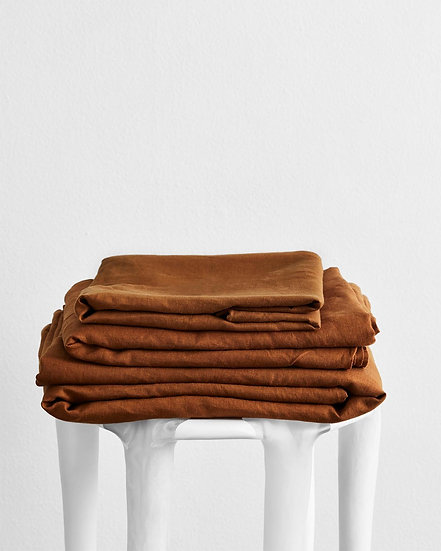 Rust 100% Flax Linen Sheet Set