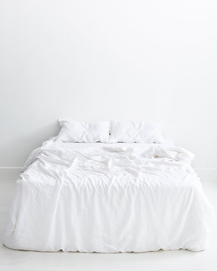 White 100% Flax Linen Bedding Set