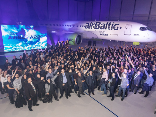 Airbus Celebrates Delivery of 100th A220 Aircraft to Riga, Latvia Based airBaltic